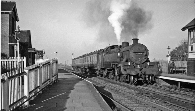 Banks, Southport. Historical Image of steam Train