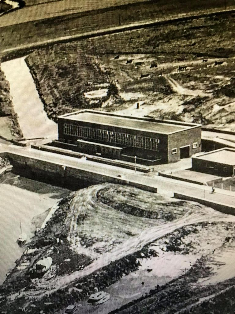 Aerial photo of the new pumping station opened in 1961