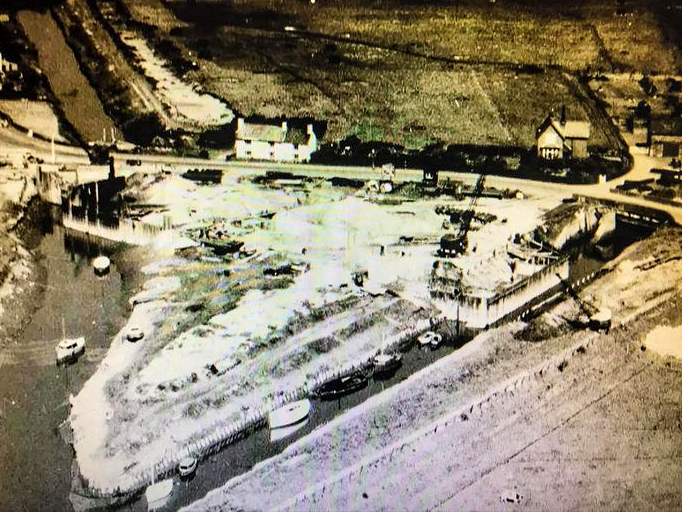 Aerial photo of Long Dick's cottage behind the pumping station in 1958