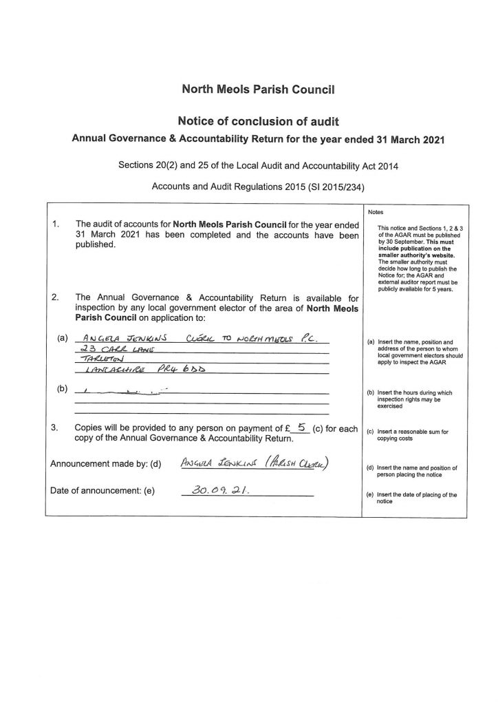 Notice of Conclusion of Audit 2021